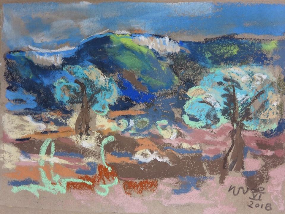 Hinterland von Syracusa, Juni 2018, Pastell 30 x 20 cm (Rahmen 42 x ...